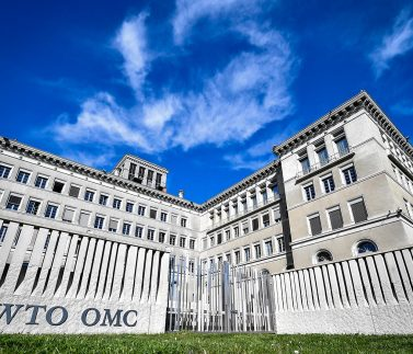 The World Trade Organization (WTO) headquarters are seen in Geneva on April 12, 2018. - The World Trade Organization is set to release its latest forecasts as trade tensions between the United States and China ratchet up. (Photo by Fabrice COFFRINI / AFP)        (Photo credit should read FABRICE COFFRINI/AFP/Getty Images)